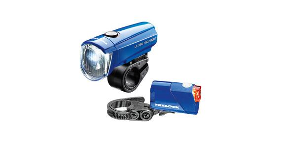 Trelock LS350 I-go Sport + LS710 Reego Zestaw oświetlenia niebieski